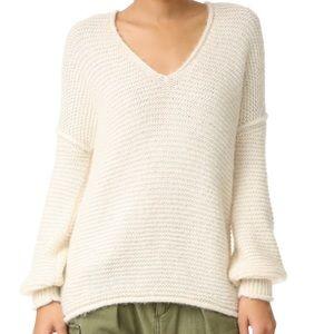 FREE PEOPLE Sweater Oversized Cream Boho Alpaca M